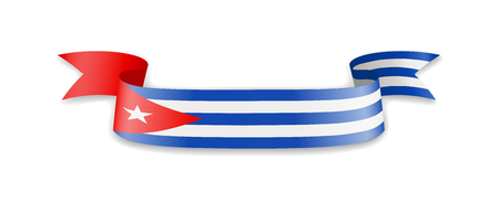 Cuba flag in the form of wave ribbon. Vector illustration. Çizim