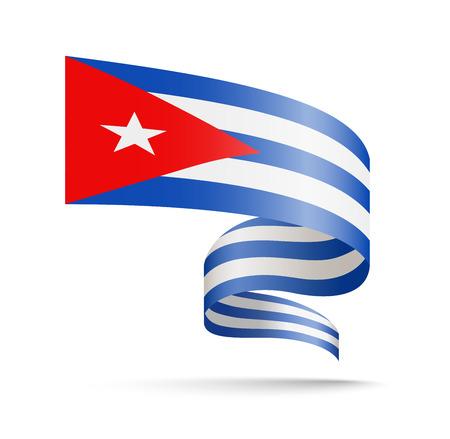Cuba flag in the form of wave ribbon isolated vector illustration Ilustração