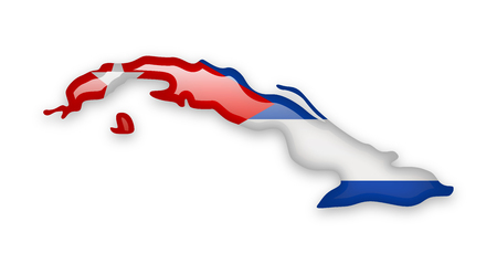 Cuba flag and outline of the country on a white background.