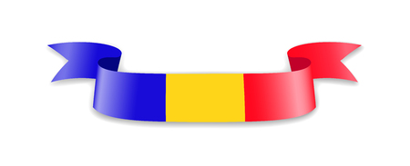 Romania flag in the form of wave ribbon. Vector illustration.