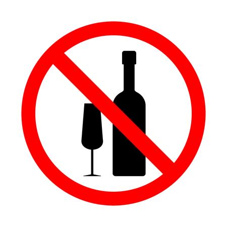 Prohibition on alcohol sign vector illustration on a white background. Reklamní fotografie - 95012720