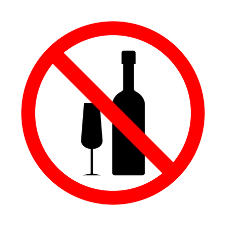 Prohibition on alcohol sign vector illustration on a white background.