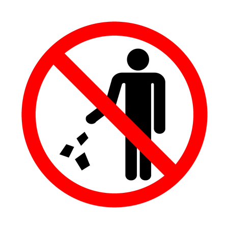 Do not litter sign. Vector illustration on a white background. Stock Vector - 94916347