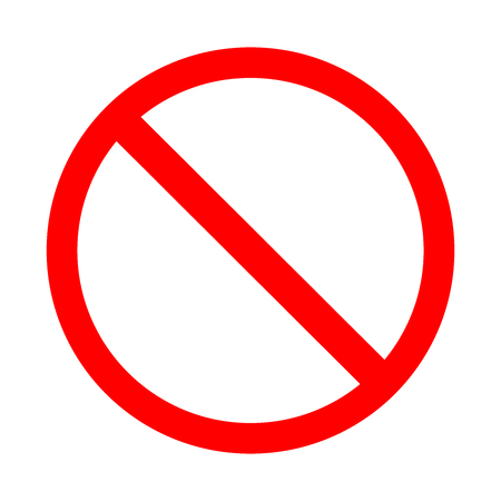Blank prohibiting sign is a red crossed circle on a white background. Vectores