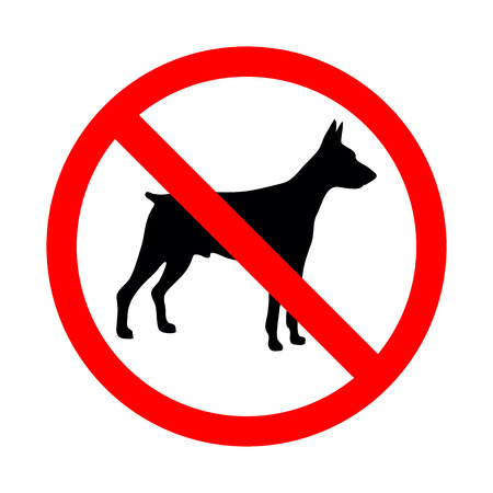 No animal sign. Prohibited sign for no dogs vector illustration. Illustration