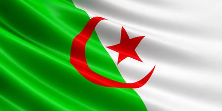 Algeria flag fluttering in wind. Close-up, high resolution.