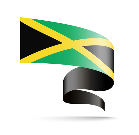 Jamaica flag in the form of wave ribbon. Vector illustration on white background.