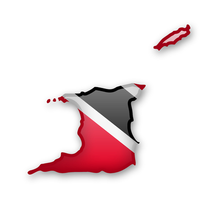 Trinidad and Tobago flag and outline of the country on a white background.