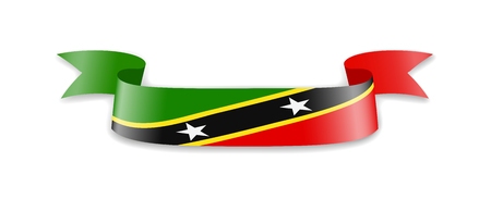 Saint Kitts and Nevis flag in the form of wave ribbon. Vector illustration. Illustration