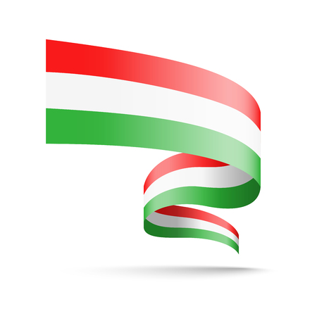 Hungary flag in the form of wave ribbon. Vector illustration on white background. Çizim