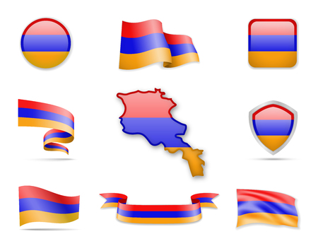 Armenia Flags Collection. Flags and contour map. Vector illustration
