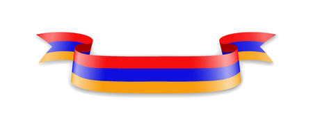Armenia flag in the form of wave ribbon. Vector illustration.