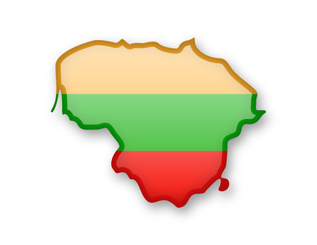 Lithuania flag and outline of the country on a white background.