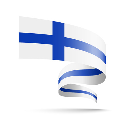 Finland flag in the form of wave ribbon. Vector illustration on white background.  イラスト・ベクター素材