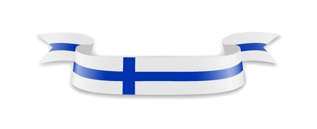 Finland flag in the form of wave ribbon. Vector illustration.