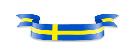 Sweden flag in the form of wave ribbon. Vector illustration. Stock Vector - 97236740