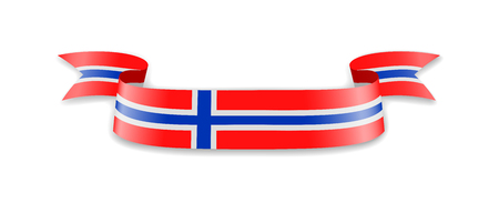 Norway flag in the form of wave ribbon. Vector illustration.