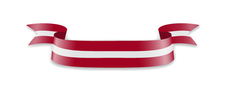 Latvia flag in the form of wave ribbon. Vector illustration. Illustration