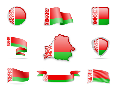 Belarus flags collection flags and contour map vector illustration.