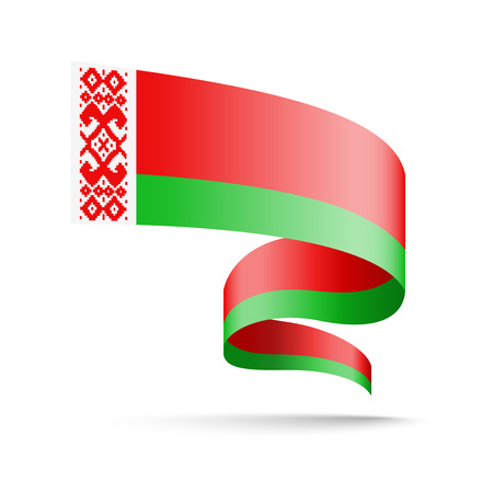 Belarus flag in the form of wave ribbon on a white background