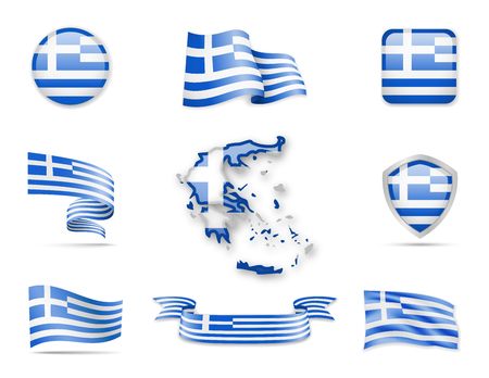 Greece Flags Collection. Flags and contour map. Vector illustration