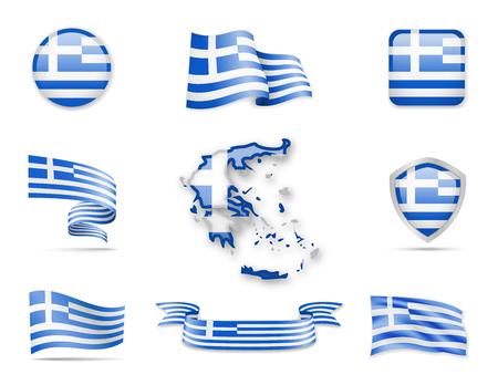 Griechenland Flaggen Sammlung . Flaggen und Hauptstadt Karte . Vektor-Illustration