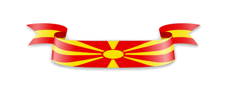 Macedonia flag in the form of wave ribbon. Vector illustration.