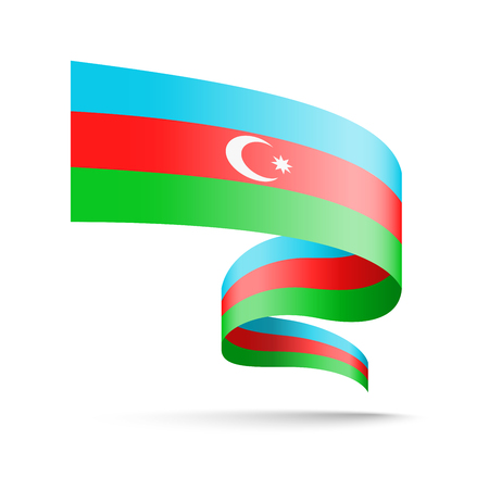 Azerbaijan flag in the form of wave ribbon. Vector illustration on white background.