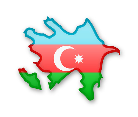 Azerbaijan flag and outline of the country on a white background. Illustration