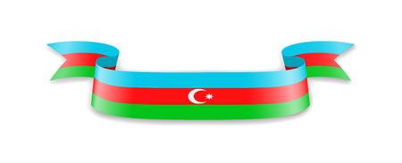 Azerbaijan flag in the form of wave ribbon. Vector illustration. Illustration