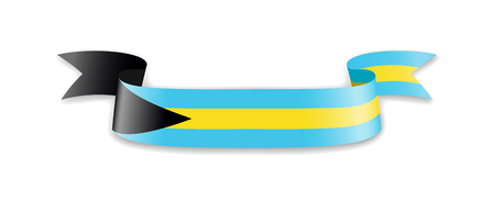 Bahamas flag in the form of wave ribbon