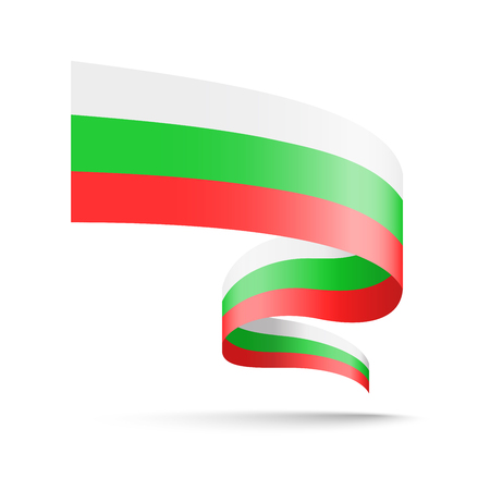 Bulgaria flag in the form of wave ribbon. Vector illustration on white background.
