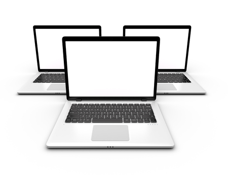 Three laptops with blank white screens isolated. Mockup laptop. Mockup for design and infographic. 3D rendering. Stock Photo - 102165170