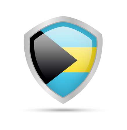 Shield with Bahamas flag on white background. Vector illustration.