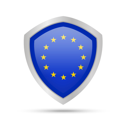 Shield with European Union flag on white background. Vector illustration. Archivio Fotografico - 105717802