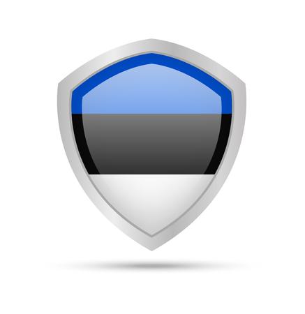 Shield with Estonia flag on white background. Vector illustration. Archivio Fotografico - 105717804