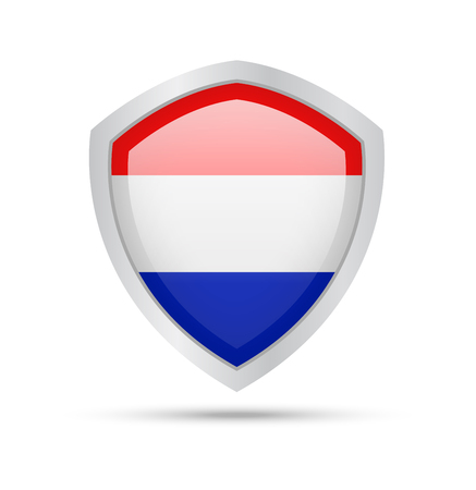 Shield with Netherlands flag on white background. Vector illustration. Archivio Fotografico - 106138063