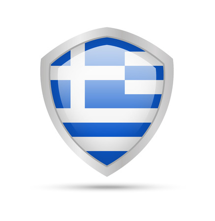 Shield with Greece flag on white background. Vector illustration.