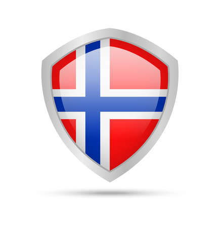 Shield with Norway flag on white background. Vector illustration.