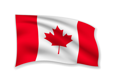 Waving Canada Flag on white. American Flag in the Wind. Vector illustration.