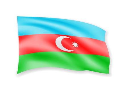 Waving Azerbaijan Flag on white. American Flag in the Wind. Vector illustration.