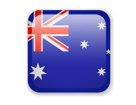 Australia Flag. Bright Square Icon. Vector Illustration