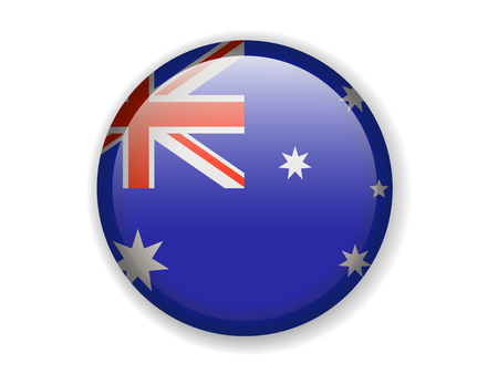 Australia flag. Round bright Icon. Vector Illustration