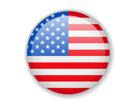 USA flag. Round bright Icon. Vector Illustration