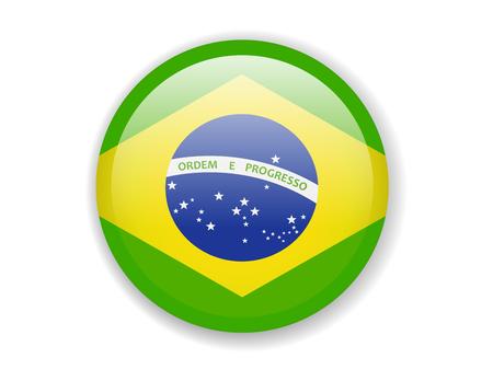 Brazil flag. Round bright Icon. Vector Illustration