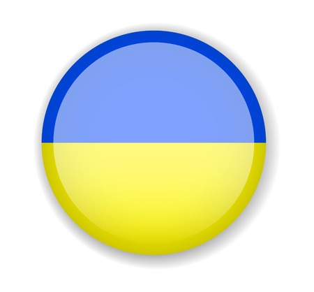 Ukraine flag. Round bright Icon. Vector Illustration