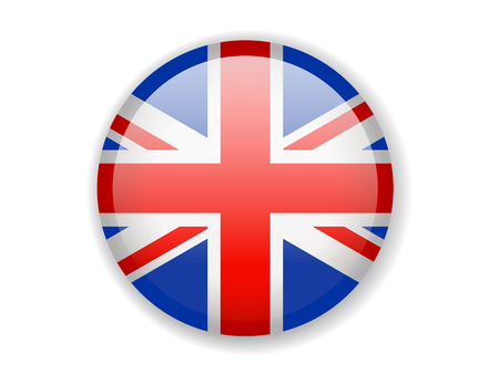 United Kingdom flag. Round bright Icon. Vector Illustration Vettoriali