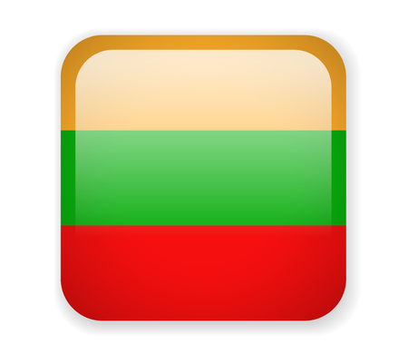 Lithuania Flag. Square bright Icon. Vector Illustration