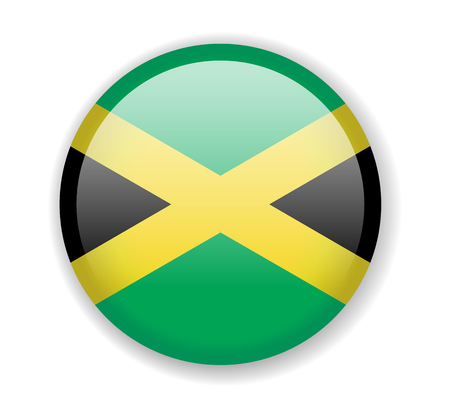 Jamaica flag. Round bright Icon. Vector Illustration