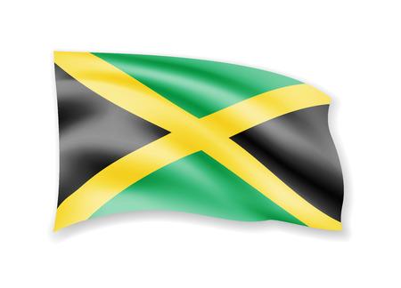 Waving Jamaica flag on white. Flag in the wind. Vector illustration Illustration